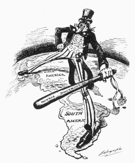 MONROE DOCTRINE CARTOON. Uncle Sam straddles the Americas while wielding a big stick labeled 'Monroe Doctrine.' American cartoon by Louis Dalrymple, 1905.